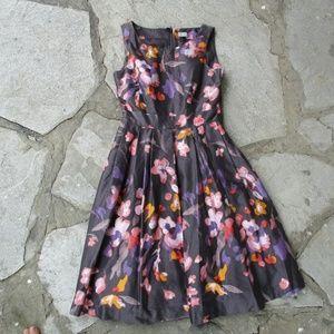 H&M Gray Pink Purple Floral Sundress sz 8